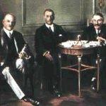 Stresemann, Chamberlain y Briand en Locarno, 1925