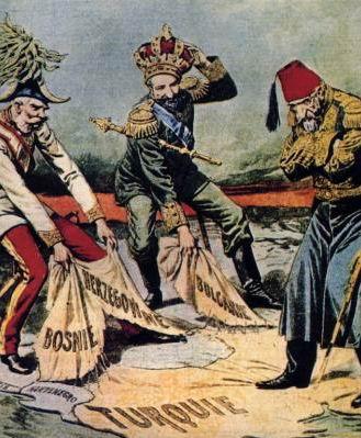 Caricatura francesa: Austria-Hungria y Rusia pugnan por el reparto de los Balcanes ante una impotente Turquía.