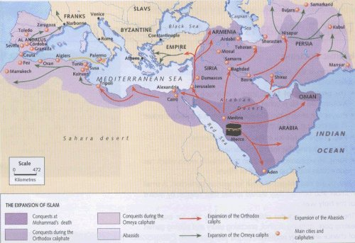 The spread of islamic civilization to an extensive empire